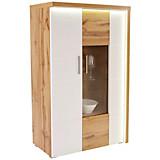 Vitrina Eleganza - bijela/boje hrasta, Moderno, staklo/drvni materijal (90/136.3/38cm)