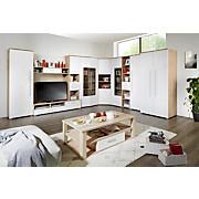 Vitrine Livorno New - Klar/Eichefarben, KONVENTIONELL, Glas/Holzwerkstoff (90/201/46cm)
