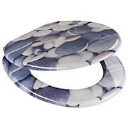 WC-Sitz Grey Stones - Blau/Weiß, MODERN, Holzwerkstoff (37,5/43,5cm)