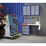 Werkbankset Medium 134 cm Grau/blau - Blau/Buchefarben, KONVENTIONELL, Holz/Metall (134/232/60cm)