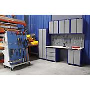 Werkbankset XLarge 268 cm Grau/blau - Blau/Buchefarben, KONVENTIONELL, Holz/Metall (268/232/60cm)