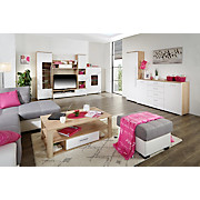 Wohnkombination Livorno New 2 - Eichefarben/Alufarben, KONVENTIONELL, Holzwerkstoff (410/201/48cm)