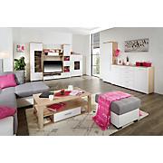 Wohnkombination Livorno New 3 - Eichefarben/Alufarben, KONVENTIONELL, Holzwerkstoff (310/201/48cm)