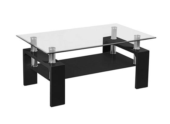 Couchtisch Silvia In Schwarz Mit Tischplatte Aus Glas